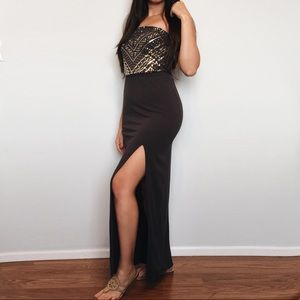 Express grey & gold sequin maxi dress